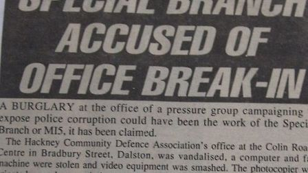 A Gazette article from January 26, 1995, about the suspicious break-in at the Colin Roach Centre.