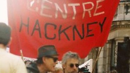 Mark Jenner (holding the pole) with a Colin Roach Centre banner.
