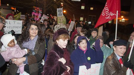 Hundreds of protesters gathered outside Haringey's cabinet meeting on Tuesday. Photo: Nigel Sutton