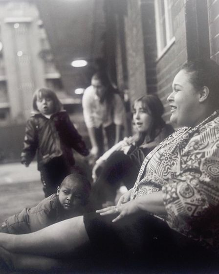 Liz Smith with her children outside Radstock House