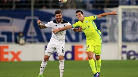Gent's Jeremy Perbet (right) and Tottenham Hotspur's Kyle Walker (left) battle for the ball (pic: Ad