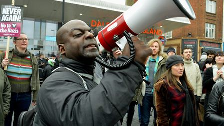 Protesters use a megaphone outside Dalston Kingsland station. Picture: Polly Hancock