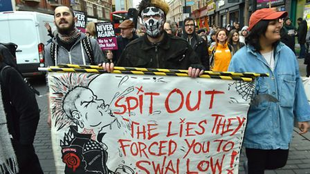 The protesters marched along Kingsland Road. Picture: Polly Hancock
