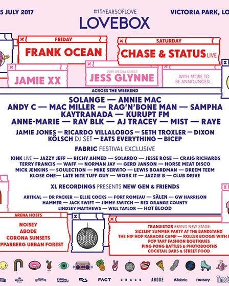 Lovebox 2017 line-up. Picture: Family PR