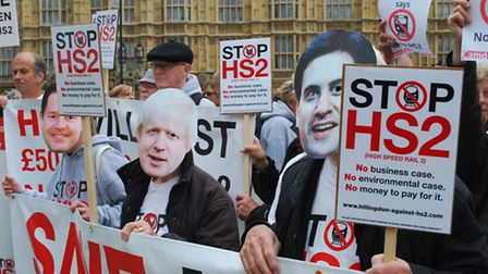Anti-HS2 campaigners from Camden joined hundreds in protest outside parliament in the past. Picture: