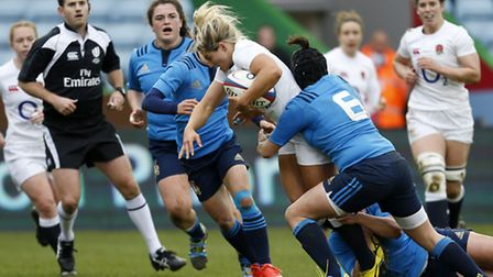 Vicky Fleetwood, seen playing for England against Italy this weekend, will be part of the Saracens s