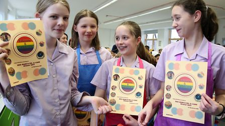 Clapton Girls Academy students after winning the best secondary school prize for their cake at the G