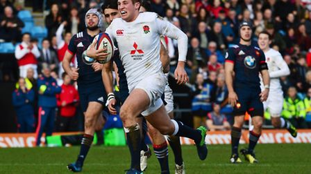 England's Max Malins sprints to score a try during the U20 6 Nations match against France. Picture:
