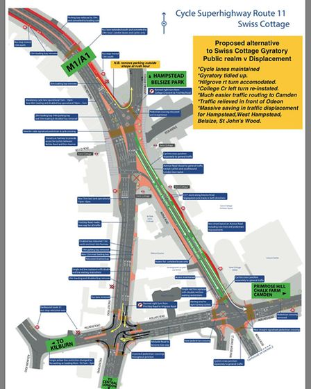 Map of alternative CS11 scheme with the Swiss Cottage gyratory intact