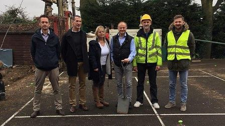 Pictured at the opening dig of Cumberland LTC's new squash courts are, from left to right, Simon Har