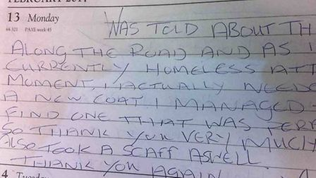 One of the messages from someone who was thankful for a coat.