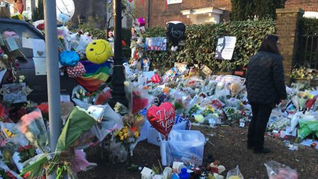 A sea of flowers outside George Michael's home in Highgate. Photo: Emily Banks