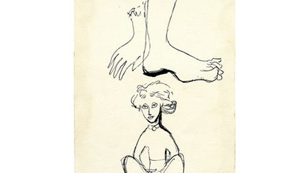 Franciszka Thermerson's You Can't Help It, Can You? [self-portrait], 1941. Pen and ink.