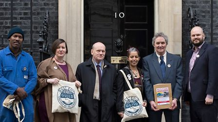 Mayor John Biggs and Business Rates petition organsiers delivering protest in Downing Street