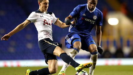 Tottenham Hotspur U18s Jack Roles and Chelsea's Dujon Sterling battle for the ball. Picture: ADAM DA