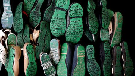 The engraved shoes which will be on display at Amnesty International HQ