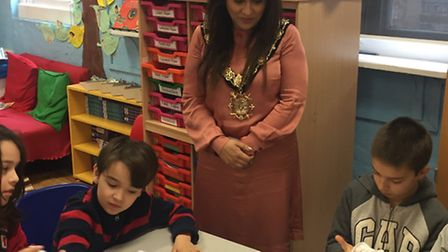 Mayor of Camden Cllr Nadia Shah with pupils at Primrose Hill Primary School