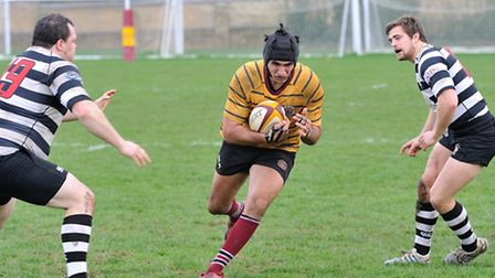 UCSOB's Mert Zabci on his way to a try against Royston. Picture: NICK COOK