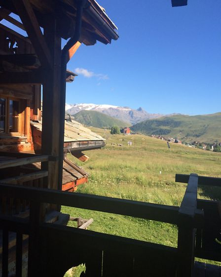 The view from the balcony of VIP Ski's Chalet la Ferme in Alpe d'Huez, Photo Emma Bartholomew