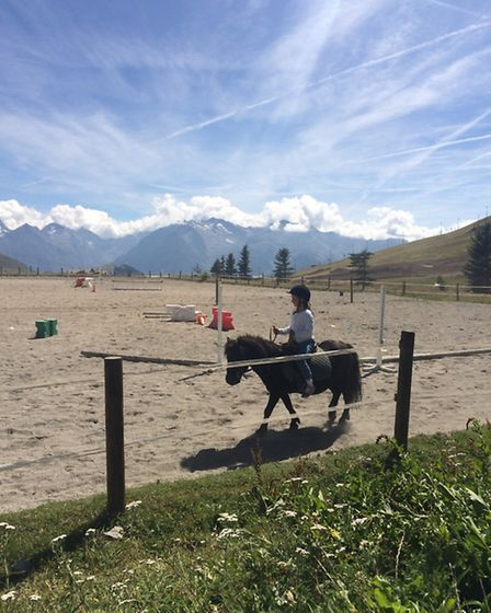 Emma's daughter Ines having a horse riding lesson in Alpe d'Huez