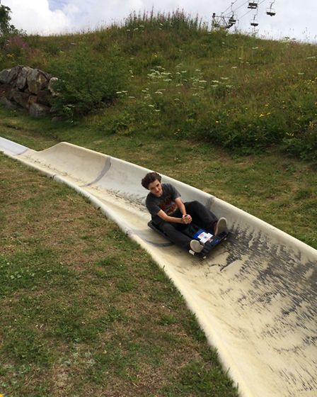 Gabriel coming down the luge in Alpe d'Huez. Photo Emma Bartholomew