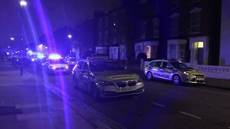 Police at the scene in Willberforce Road. Photo: @999London