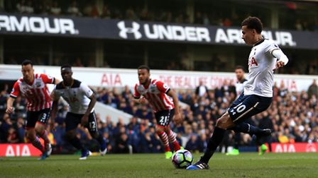 Tottenham Hotspur's Dele Alli scores his side's second goal of the game against Southampton from th