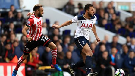Southampton's Nathan Redmond (left) and Tottenham Hotspur's Moussa Dembele battle for the ball at Wh