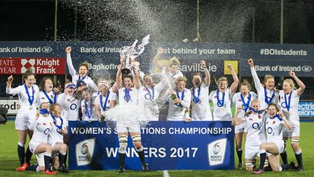 England captain Sarah Hunter lifts the Six Nations trophy. Picture: LIAM MCBURNEY/PA WIRE