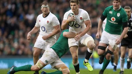 England's Owen Farrell is tackled by Ireland's Sean O'Brien during the RBS 6 Nations match at the Av
