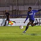 Reece Beckles-Richards got his 21st of the season for Wingate & Finchley against the Met Police. Pic