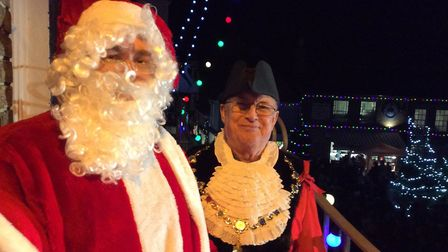Father Christmas and Southwold mayor Matthew Horwood at Southwold Christmas lights switch on 2017. P