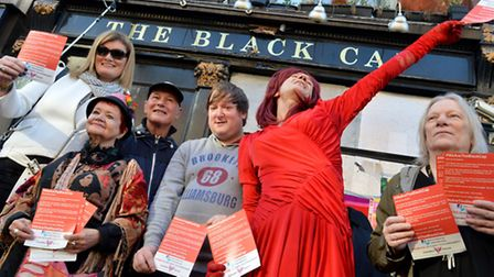 Campaigners hold a 'We Are The Black Cap' vigil outside the Camden Town pub. Picture: Polly Hancock