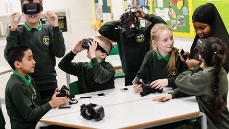 Newington Green School students getting to grips with innovative technology in the classroom.
