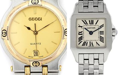 Mens Gucci 9000m and womens Cartier 2698 were among the £100,000 worth of jewellery stolen in Highga