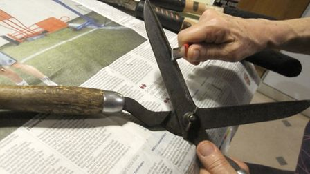 Alison Richards demonstrates how to sharpen your shears