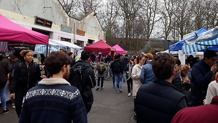 The vegan market in Amhurst Terrace, by Hackney Downs Studios, on Saturday.