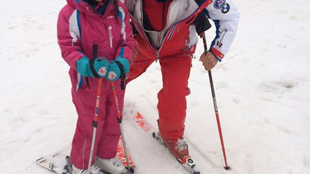 Ines with her ESF ski instructor