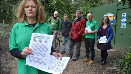 Friends of Parkland Walk are handing out leaflets voicing their concern for the proposal to allow co