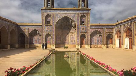 The courtyard of the Pink Mosque in Shiraz, Iran