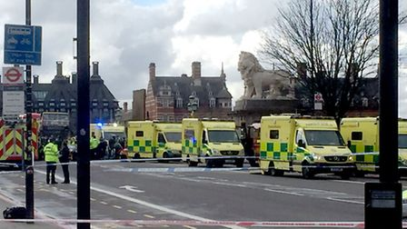 Ambulances on Westminster Bridge. Picture: Scott D'Arcy/PA Wire