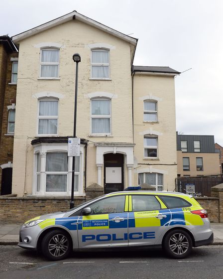 The scene in Wilberforce Road, near Finsbury Park, in north London after a one-year-old boy died and