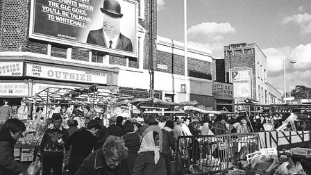 Ridley Road in 1984. An advert for the Greater London Council is visible. Picture: Andrew Holligan