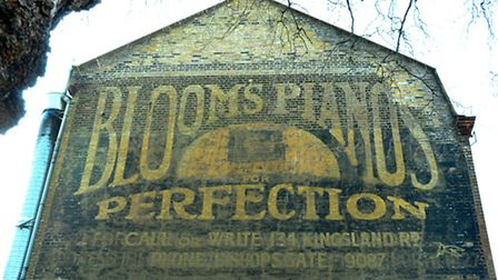 The listed Blooms Piano ghost sign near the Geffrye Museum in Kingsland Road. Picture: Polly Hancock