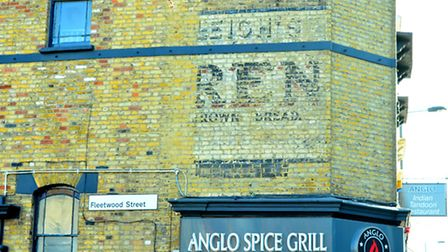 The remains of a ghost sign for Leigh's Brown Bread in Chuch Street. Picture: Polly Hancock