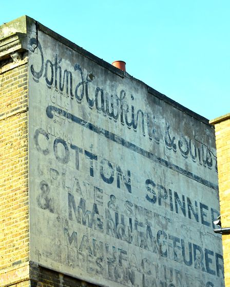 John Hawkins Cotton Spinners ghost sign in Manley Court, Stoke Newington. Picture: Polly Hancock