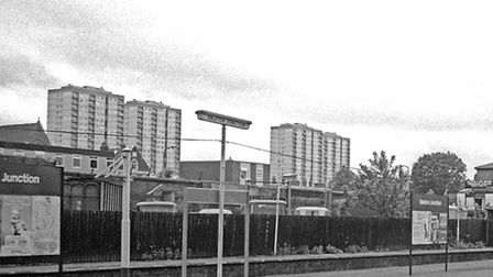 The Holly Street tower blocks rising up behind Dalston Junction station, pictured in 1979. Picture: