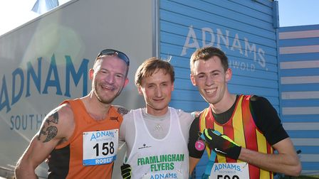 The men's race leaders at the Adnams Southwold 10K. Left to right: Rob Chenery, Ipswich Jaffa; Andre
