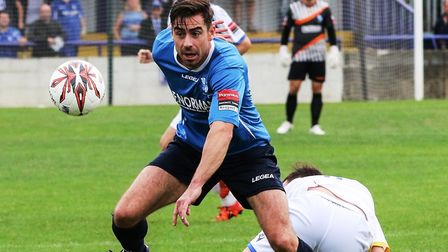 Wingate & Finchley's Steve Wales went close with a free0kick against Leatherhead. Picture: MARTIN AD