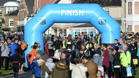The finish line at the Adnams 10K in Southwold